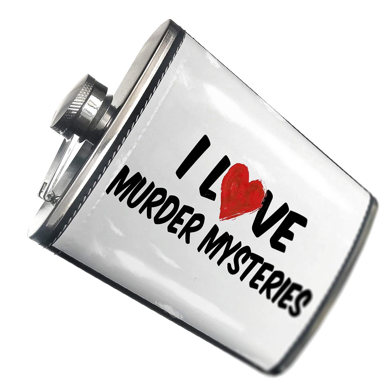 8オンスフラスコステッチI Love Murder Mysteriesステンレススチール – Neonblond   B00QQVG7CW