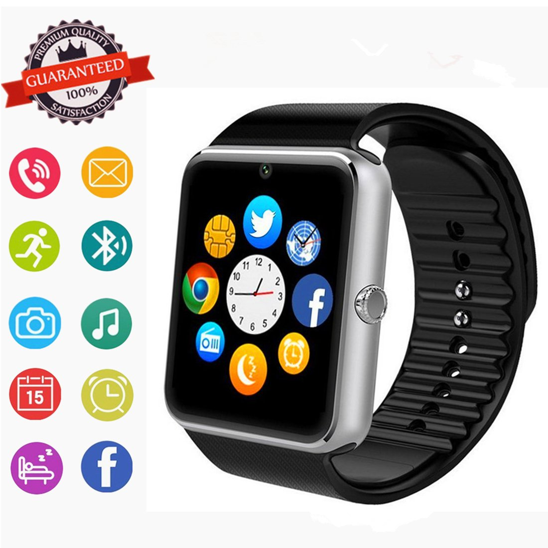 Bluetooth Smart Watch Phone with SIM Card Slot/Camera/Pedometer for Android HTC Sony Samsung LG Google Pixel /Pixel and iOS iPhone Sweatproof…
