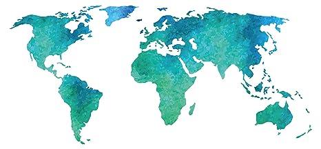 Pegatina de pared Salón Mapa del mundo Acuarela en verde y azul Continentes para encolado tierras