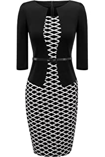 93 Birdfly Office Womens Plaid Patchwork Pencil Skirts Formal Working Dress with Three Quarter Sleeve Plus Size 2L 3L Black Shortsleeve,L /…