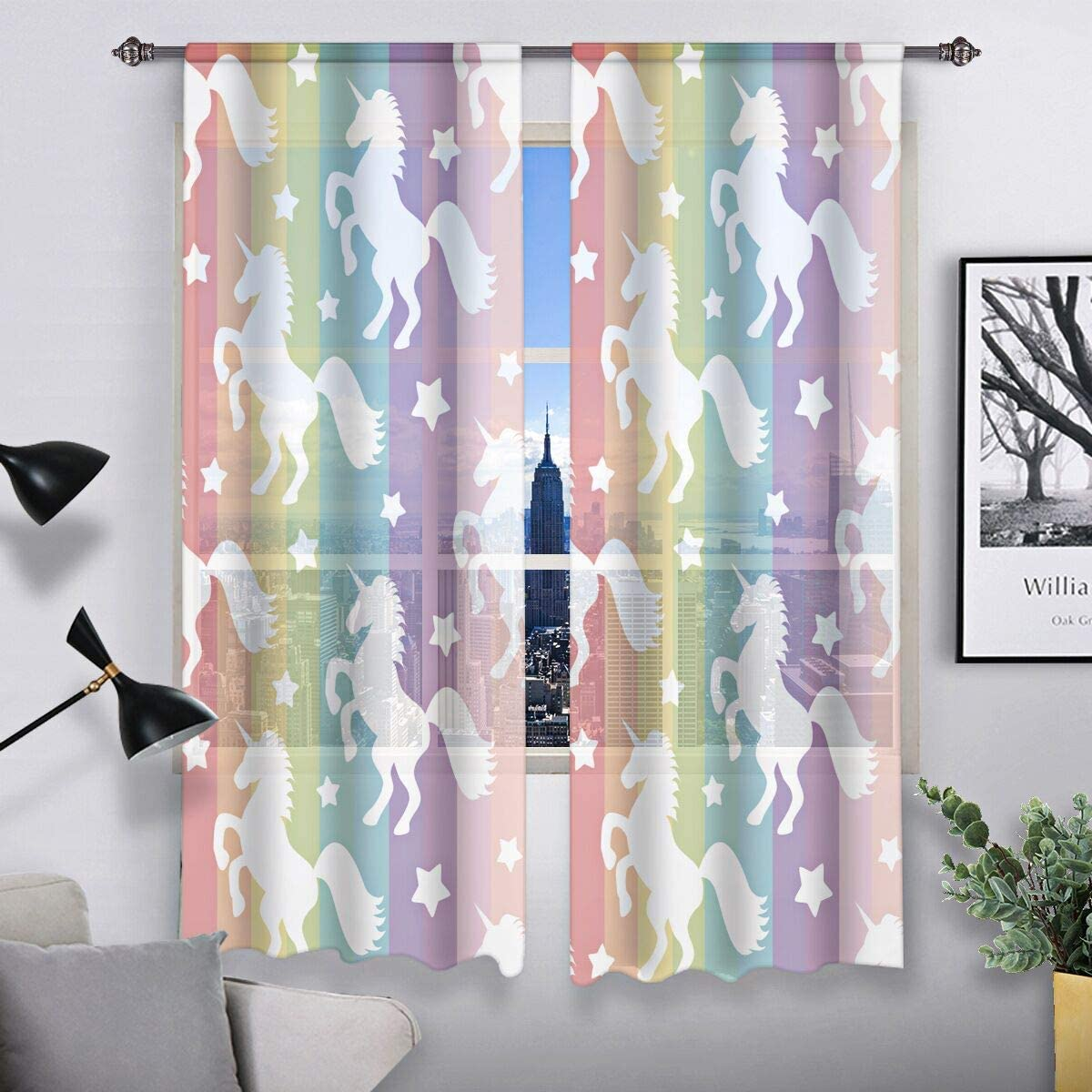QH Rainbow Unicorn Window Sheer Curtains for Living Room Bedroom Kids Room 55 W x 78 L Set of 2 Panels