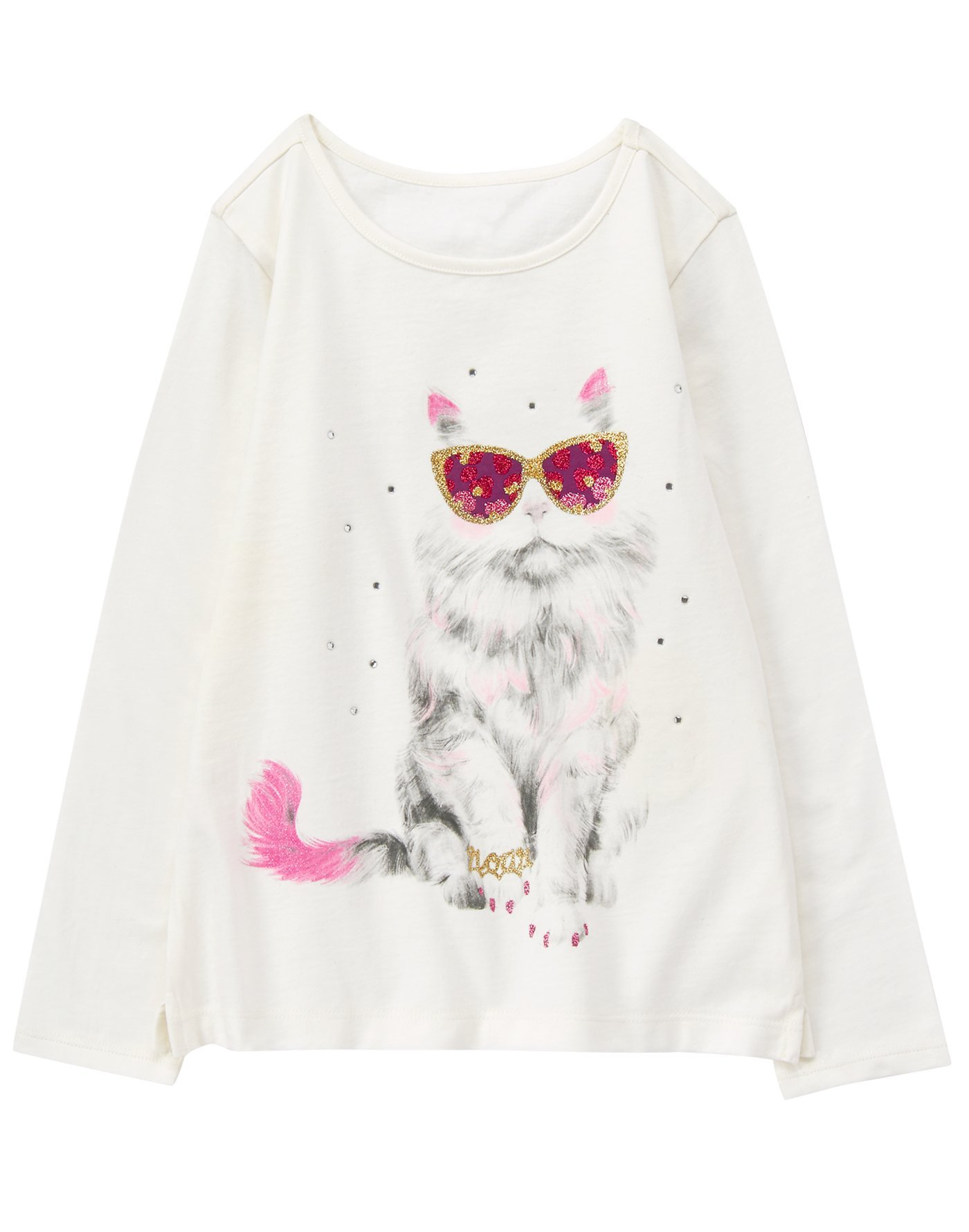 Gymboree Little Girls' Long Sleeve Graphic Tee, White Sunglasses, S by Gymboree