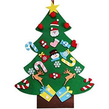vLoveLife 3ft Kids DIY Felt Christmas Tree Decorations Xmas 26pcs ...