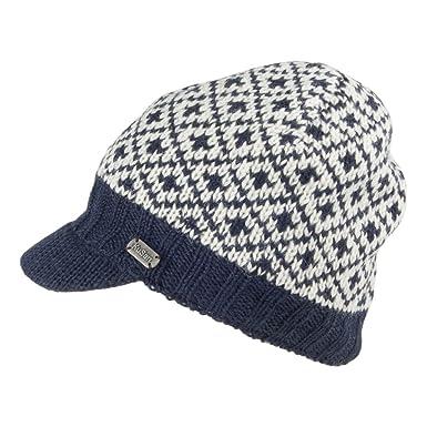 Kusan Hats Fleur De Lis Brooklyn Peaked Beanie - White-Navy 1-Size ... bf27d4789d3