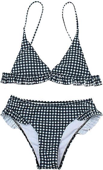 Conjunto de Bikini de Impresión a Cuadros con Volantes para Mujer Traje de Baño de Playa Acolchado Traje de Baño de Bikini de 2 Piezas: Amazon.es: Ropa y accesorios