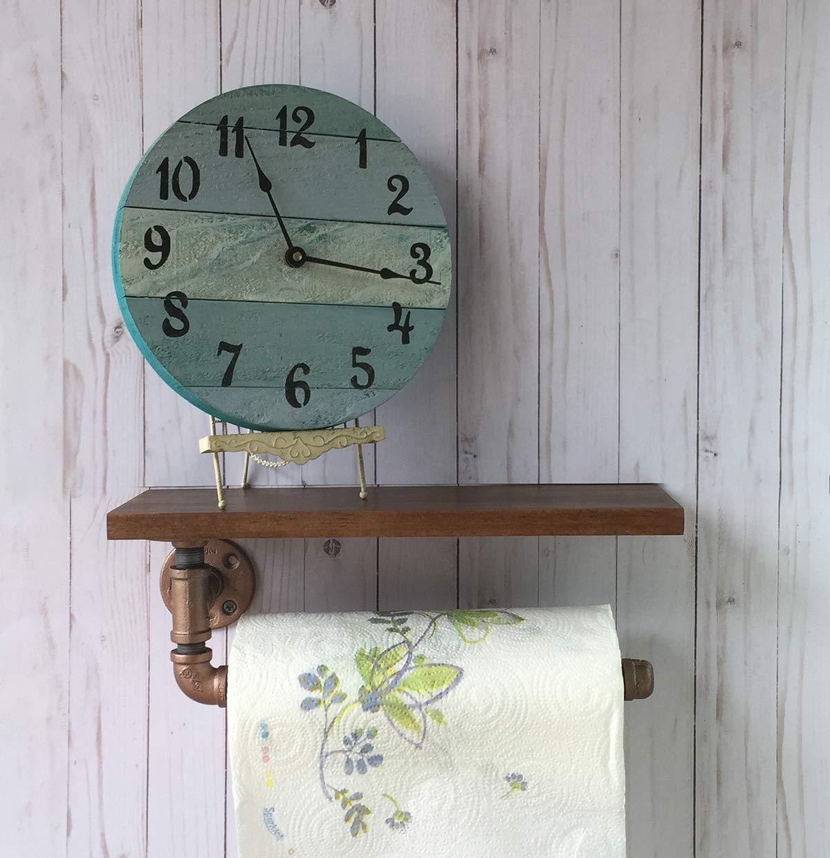 Industrial Paper Towel Holder farmhouse style walnut finish Hardwood Shelf iron pipe Kitchen Accessory