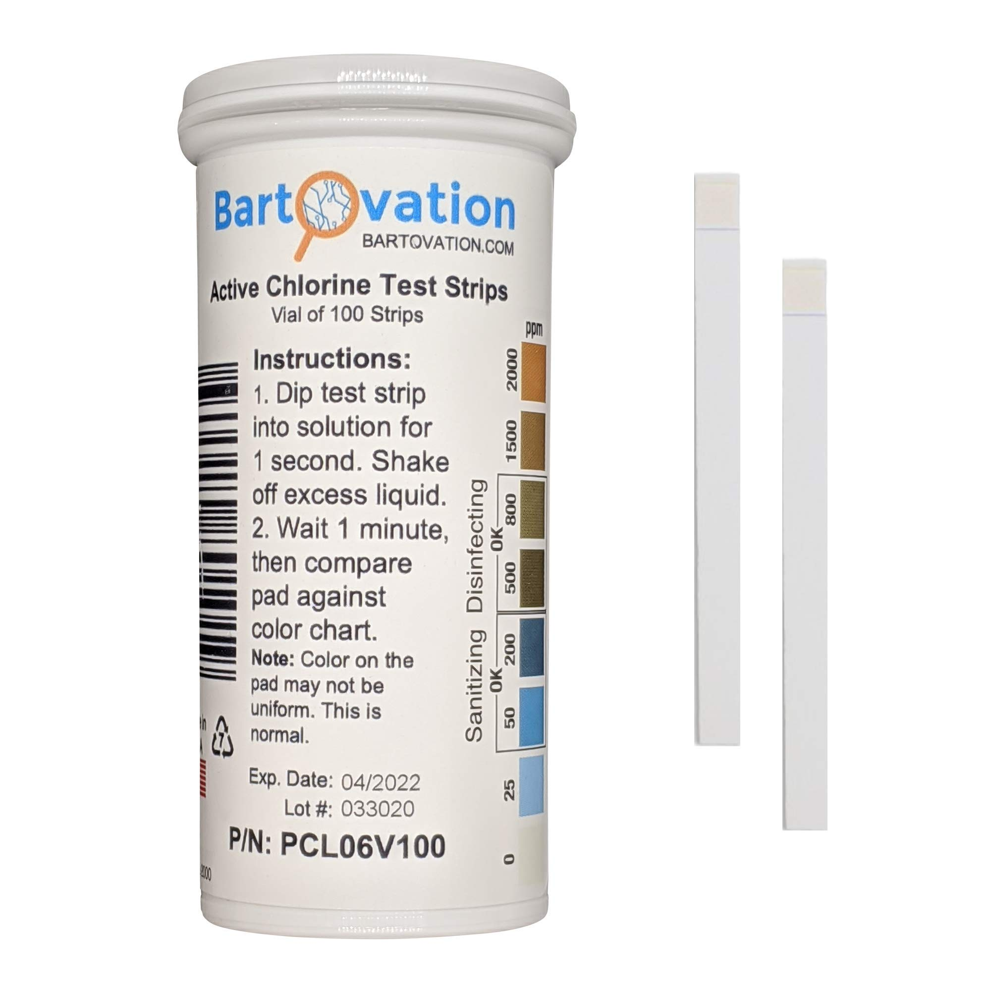 Active Chlorine Bleach Test Strips, 0-2000 ppm [Vial of 100 Plastic Strips] Designed for Daycares and Senior Homes for Sanitizing and Disinfecting