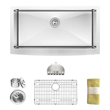 Zuhne Prato 36 Farmhouse Apron Deep Single Bowl Stainless Steel Kitchen Sink With Unique Curved Corners