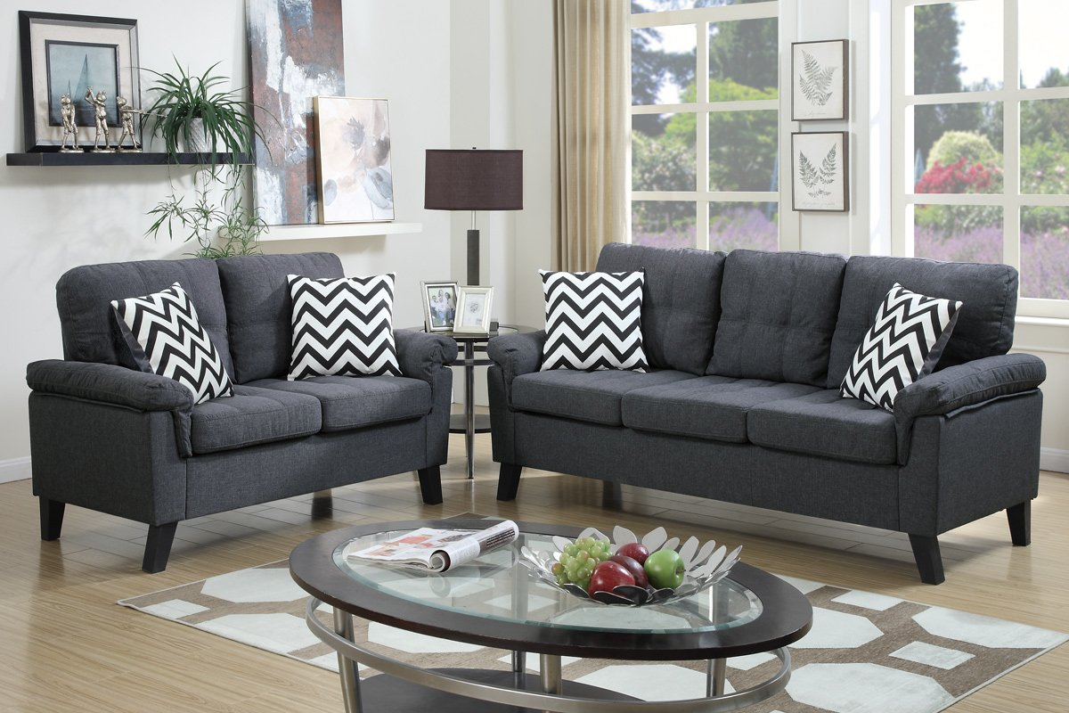 Amazon.com: Poundex F6905 Bobkona Tyler Linen Like 2 Piece Sofa And  Loveseat Set, Blue Grey: Kitchen U0026 Dining Part 48