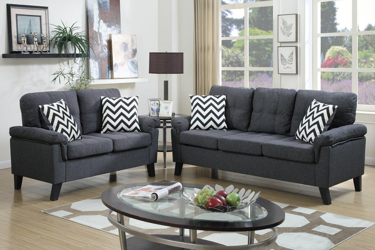 Miraculous Poundex F6905 Bobkona Tyler Linen Like 2 Piece Sofa And Loveseat Set Blue Grey Theyellowbook Wood Chair Design Ideas Theyellowbookinfo