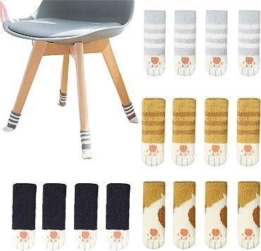 16pcs Chair Socks Chair Leg Socks Anti-Skid Knitted Floor Protector Black
