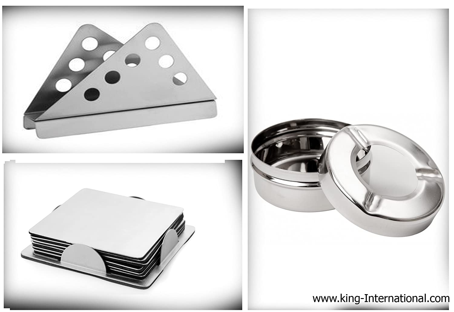 King International stainless steel ash tray with lid and square coaster with triangle tissue holder set of 3 piece.