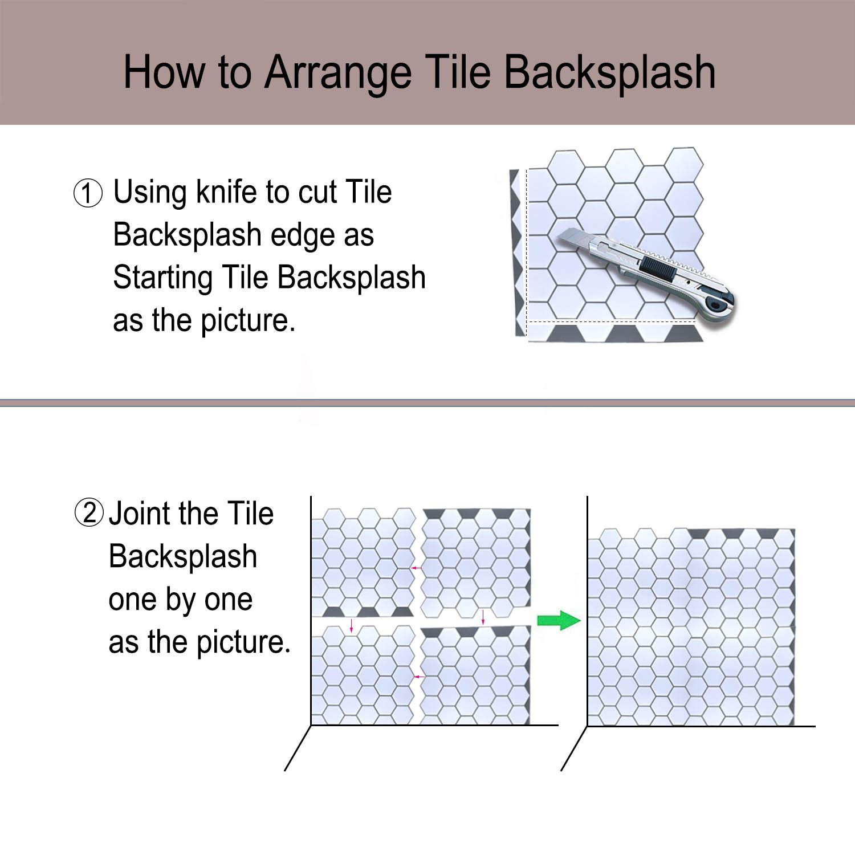 "Carrara Marble Backsplash,HONJAN Renters Groutless Removable Adhesive White Hexagon Vinyl Backsplash for Kitchen Bathroom 10""x10"" Pack of 13 (A) by HONJAN (Image #5)"