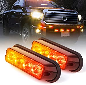 Xprite Red & Amber/Yellow 4 LED 4 Watt Emergency Vehicle Waterproof Surface Mount Deck Dash Grille Strobe Light Warning Police Light Head with Clear Lens - 2 Pack