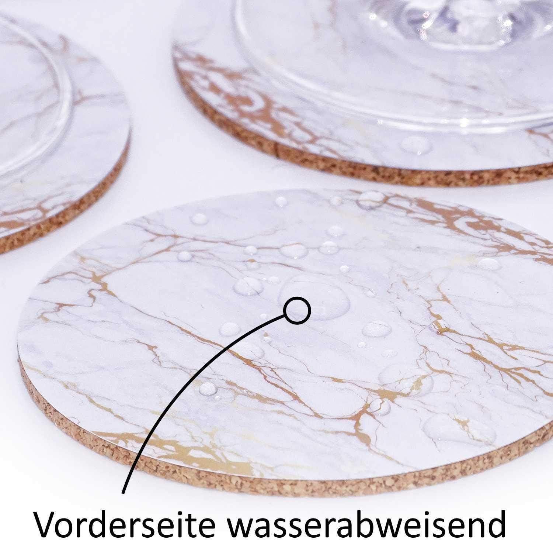 Sous-verres for les boissons Set de 4 Sous-verre rond en c/éramique de boisson Pierre Coupe Mat avec Antiderapant Cork Absorbent Protection de base for le caf/é th/é tasse de bi/ère verres /à vin bou