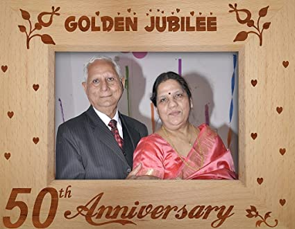 Buy tied ribbons '50th parent's aniversary' photo frame wood 22.1