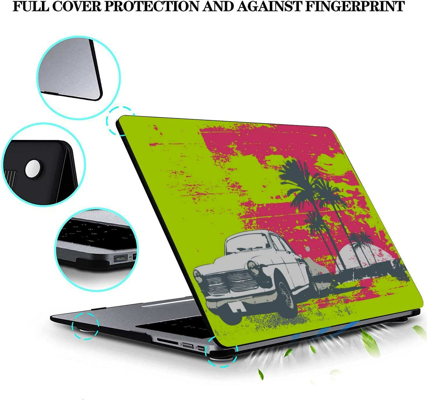 Computer Cover Summer Retrocar Beach Palm Tree Plastic Hard Shell Compatible Mac Air 11 Pro 13 15 MacBook Pro Covers Protection for MacBook 2016-2019 Version