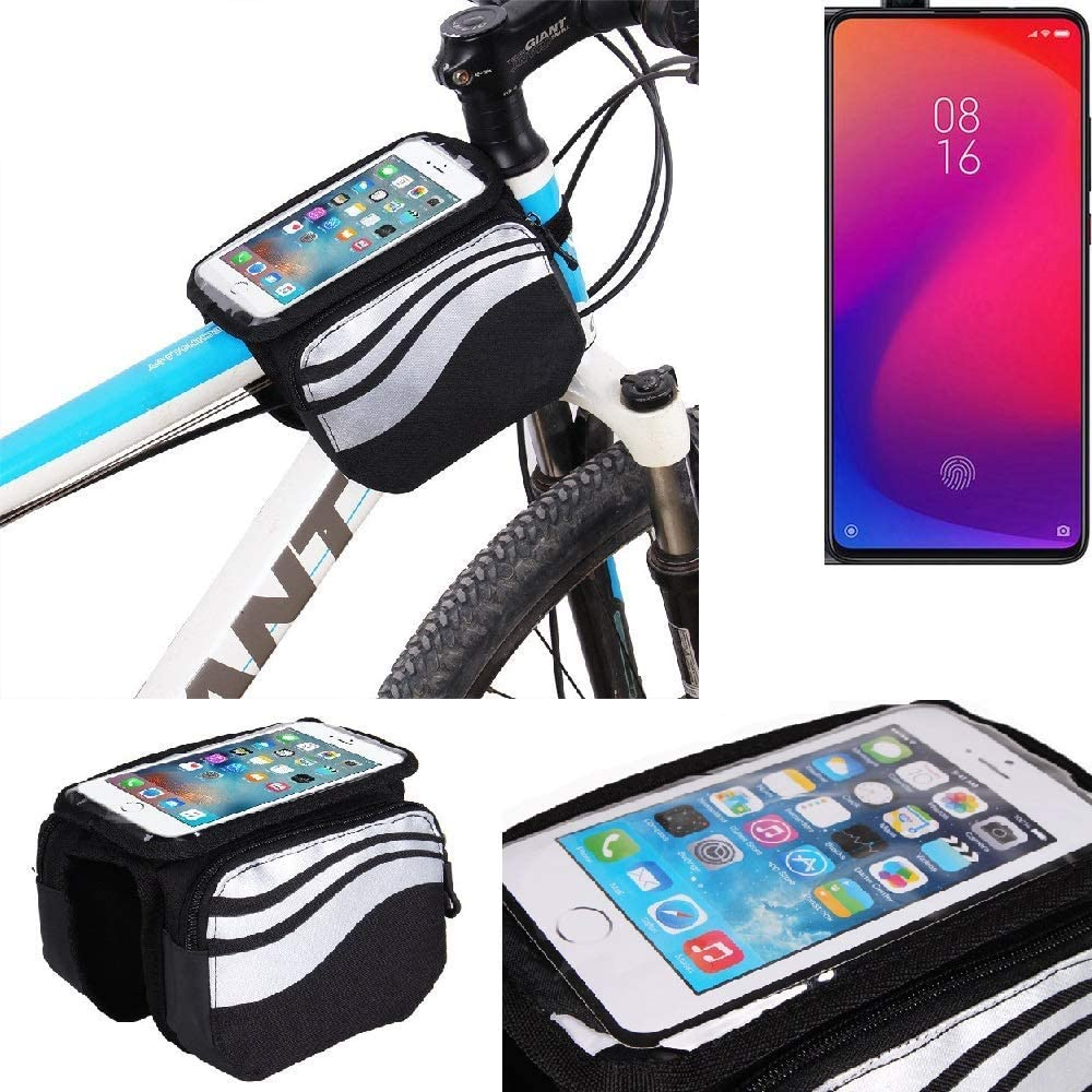 K-S-Trade/® For Xiaomi Mi 9T: Cycling Frame Bag Head Tube Bag Front Top Tube Frame Pannier Double Bag Pouch Holder Crossbar Bag Black-silver Water Resistant