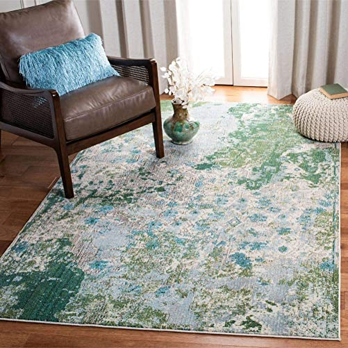 Safavieh Monaco Collection MNC219X Modern Contemporary Abstract Area Rug, 9 x 12 , Green Turquoise