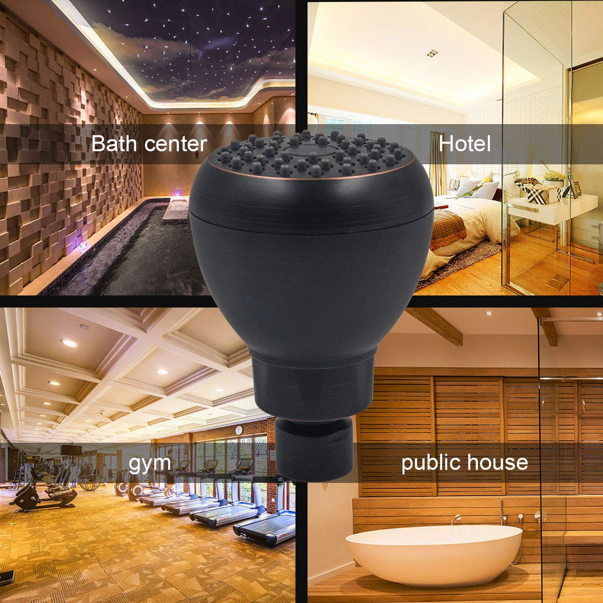 Adjustable Metal Swivel Ball Joint with Filter High Pressure Shower Head Black with Bronze 3 Inch Anti-clog Anti-leak Fixed Showerhead