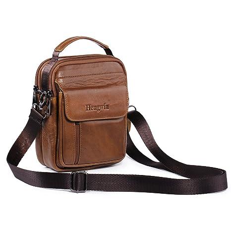 a5b16707 Hengying Bolso Para Hombre Piel Bolso Mensajero Pequeño Bolsa de Cuero  Hombre Riñonera Bolso bandolera Bolsa