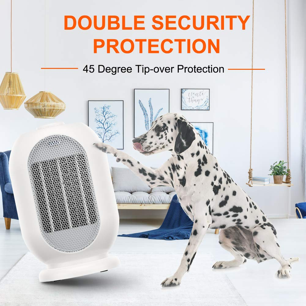 1200W/600W Electric Space Heater,Ceramic Portable Heater with Overheat Protection & Tip-Over Protection, Personal Quiet Heater for Home/Office/Bedroom/Bathroom/Outdoor