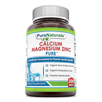 Amazon.com: Pure Naturals Calcio Magnesio Zinc 300 tabletas ...