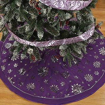 Amazon Com 48 Christmas Tree Skirt With Round Trim Snowflake