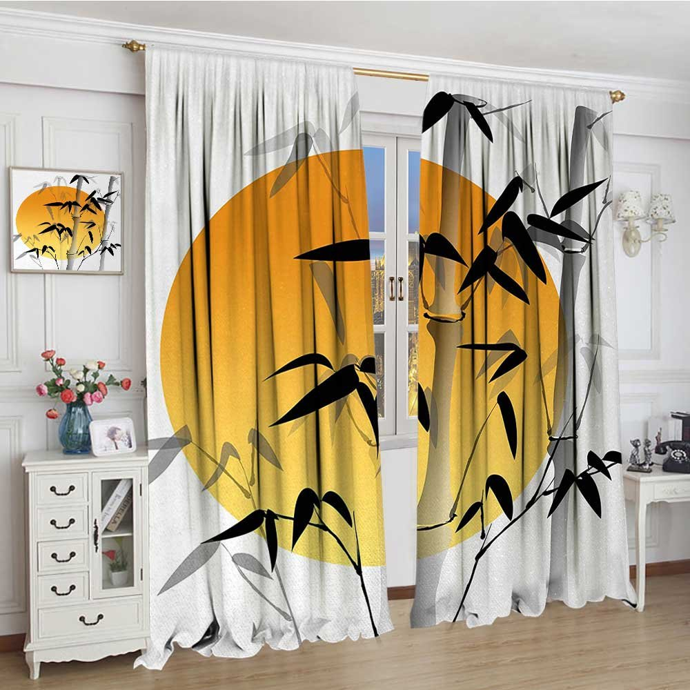 smallbeefly Bamboo Thermal Insulating Blackout Curtain Bamboos across the Sun Aesthetic Japanese Culture Lifestyle Mystic Artwork Patterned Drape For Glass Door 72''x96'' Orange Black White