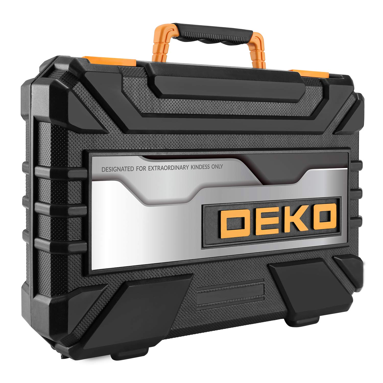 DEKO Juego de herramientas para reparaciones en el hogar de 100 piezas kit de herramientas de mano para el hogar en general con almacenamiento de cajas de herramientas de pl/ástico