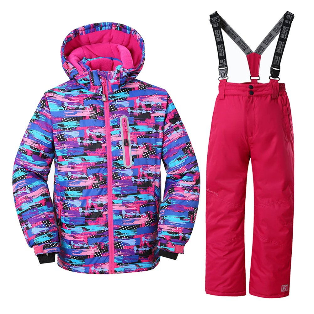 WOWULOVELY Girls Ski Jacket + Pants Snow Insulated Suit Windproof & Waterproof, 6, Multicolor