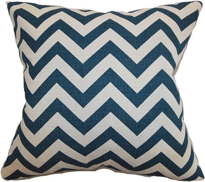 The Pillow Collection Xayabury Zigzag Lipstick Blue Down Filled Throw Pillow Throw Pillows