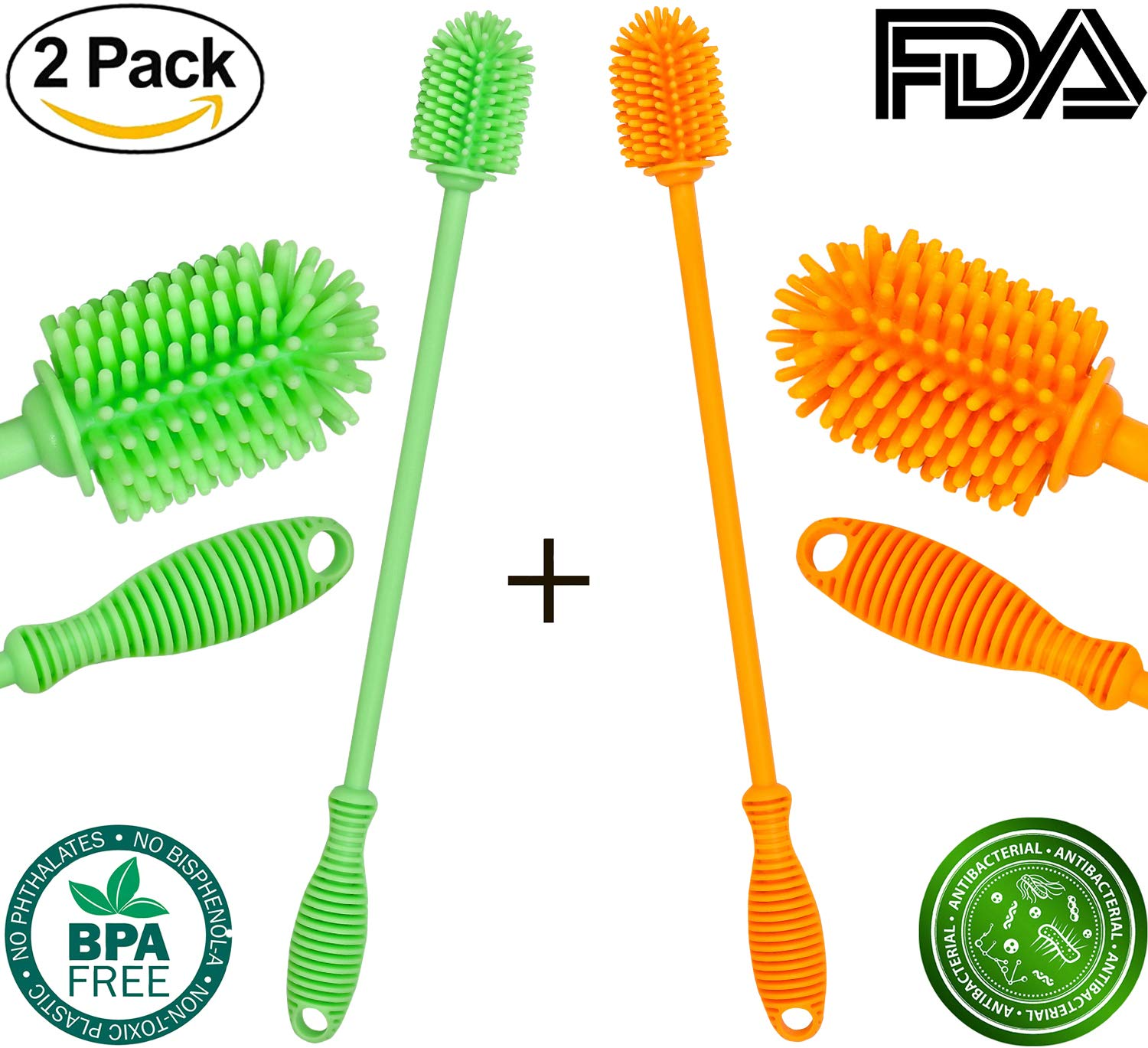 Bottle Brush Cleaner - Antibacterial Silicone Bottle Cleaning Brush Set Long Handle for Washing Water Bottle (Orange, Green) Ulutrust