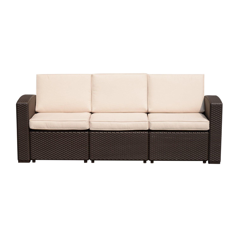 outsunny divano a 3 posti in pp plastica divano da giardino ad effetto rattan con