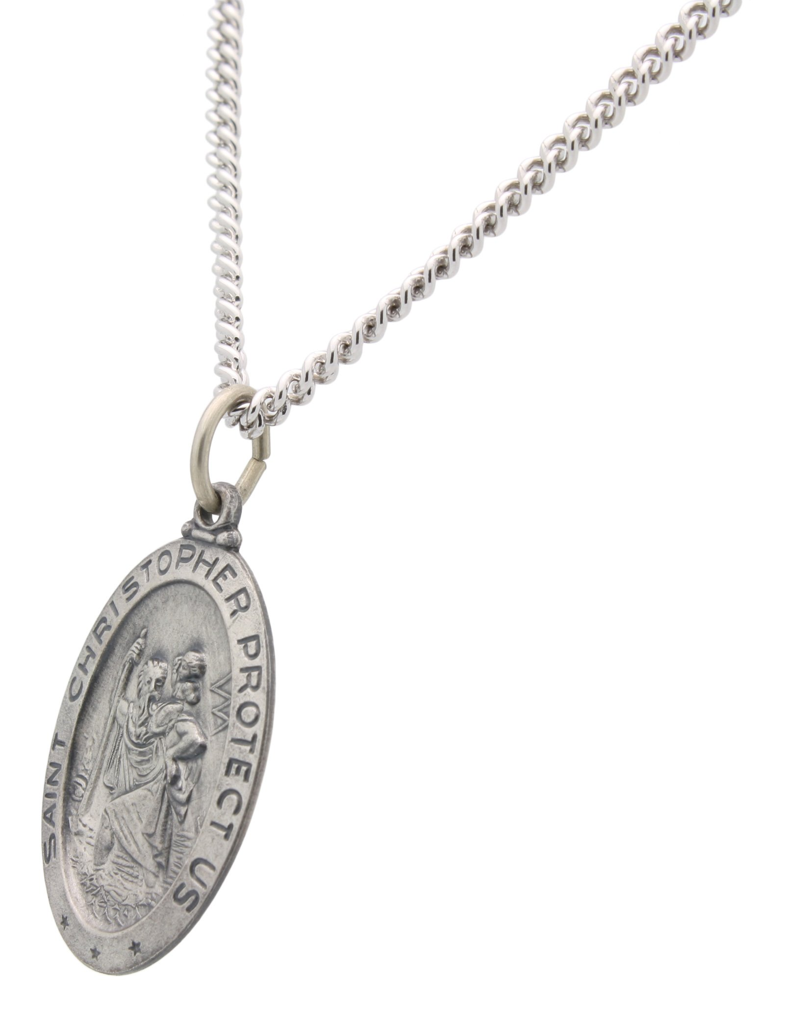 All Patron Saints Oval St Christopher Medal Necklace in Solid Sterling Silver Protect Us Medal 24 x 16 MM With 24 Inch Chain (Adult Male) by All Patron Saints (Image #2)