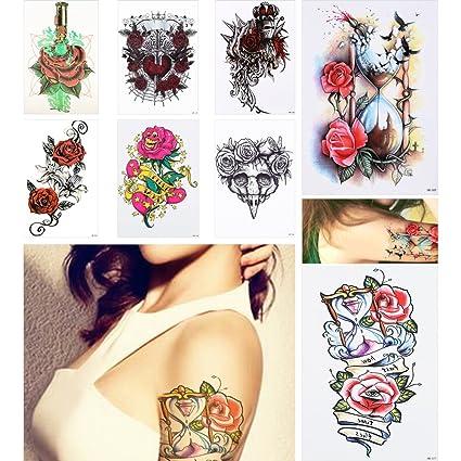 8 piezas tatuaje adhesivo temporal pierna cuerpo Art Tats rosa ...