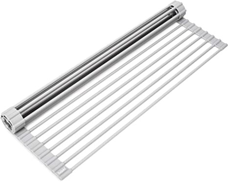 No Rusting or Slipping Over The Sink Dish Drying Rack Collapsible Roll Up Silicone Covered Stainless Steel Dish Drainer Kitchen Sink Caddy Mat Works also as Heat Resistant Trivets for Hot Dishes