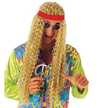Blonde Kult hippie peluca Flower Power Hippie peluca rubio 60er peluca de los años setenta Flores