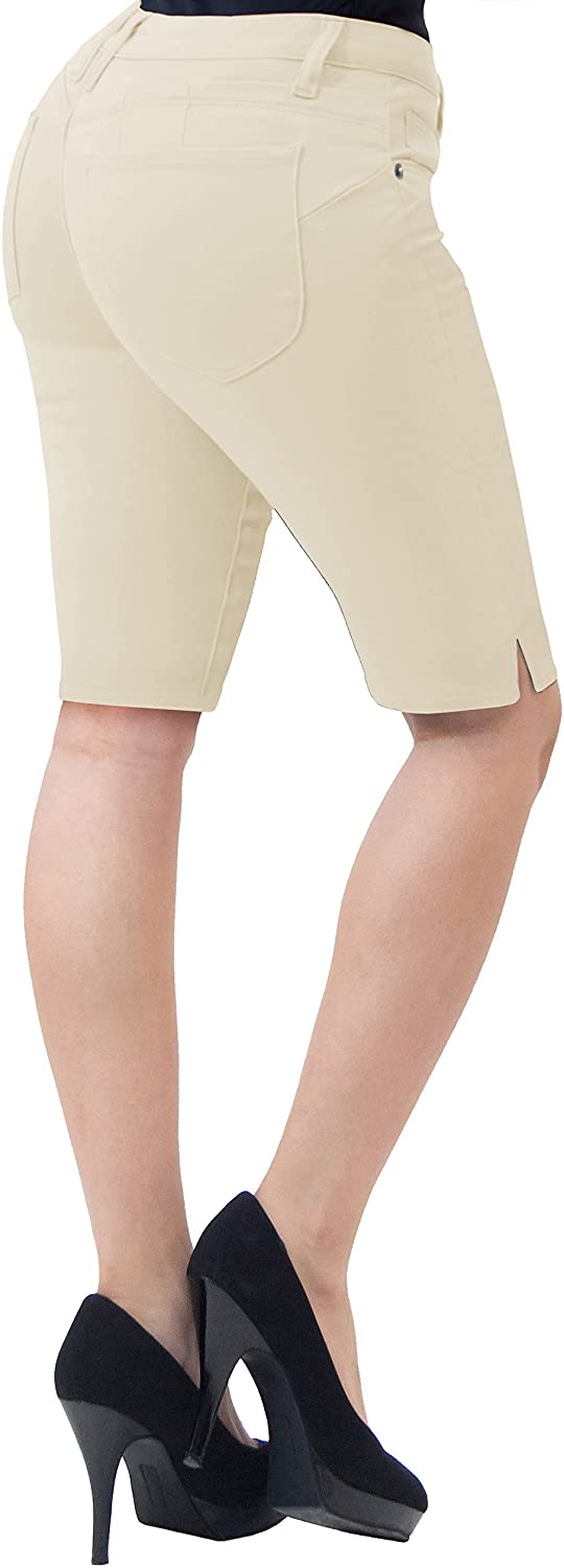 Hybrid & Company Womens 11.5 inch Inseam Butt Lift Stretch Bermuda Shorts