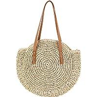 WZTO Rond paille Sac de plage Brand New Outdoor rotin tressée sac grande capacité à double usage Sac de voyage Sling pour Femme