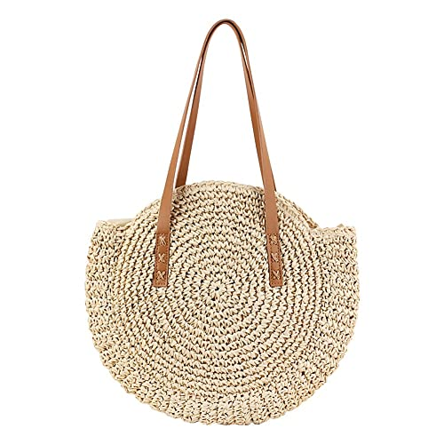 9730ef5abe64 Luerme Straw Beach Bag Women Summer Tote Bag Girls Woven Round Bag Rattan  Shoulder Bag Messenger Satchel Handbag Travel Tote Bag Camping Basket ...