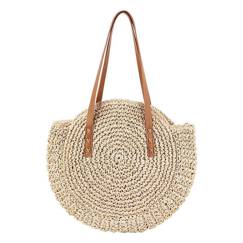 Straw Crossbody Bag, WZTO Crossbody Bag for Women Straw Summer Beach Bag Round Summer Beach Shoulder Bag