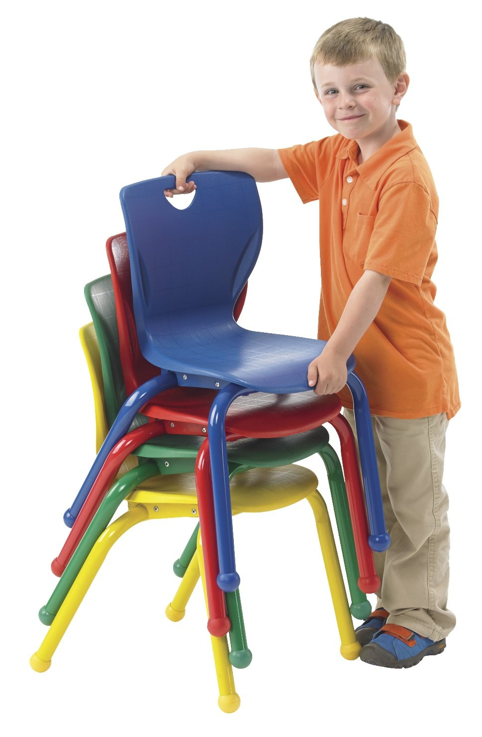 Classroom Select 1544263 14'' Contemporary Chair with Ball Glides, 1 Each of 4 Colors 24.25'' Height, 11.5'' Width, 12'' Length, Assorted (Pack of 4)