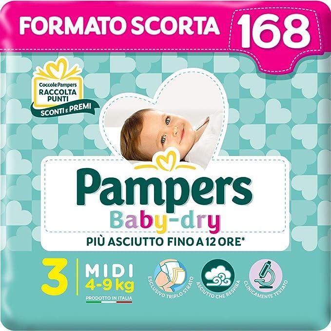 Pampers Baby Dry Midi, 168 Pannolini, Taglia 3 (4-9 kg)