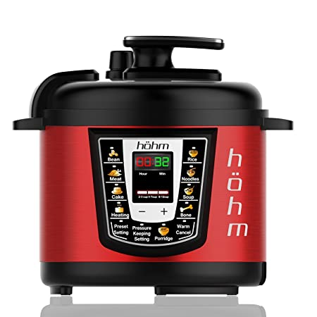 Red : Hohm Pressure Cooker Pro, Multi-Functional Electric Pressure Cooker 6 Quart 8 Preset Settings 1000 Watt (Red) Pressure Cookers at amazon