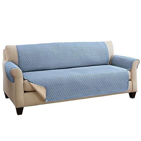 Reversible Basket Weave Furniture Protector Cover, Blue, Sofa