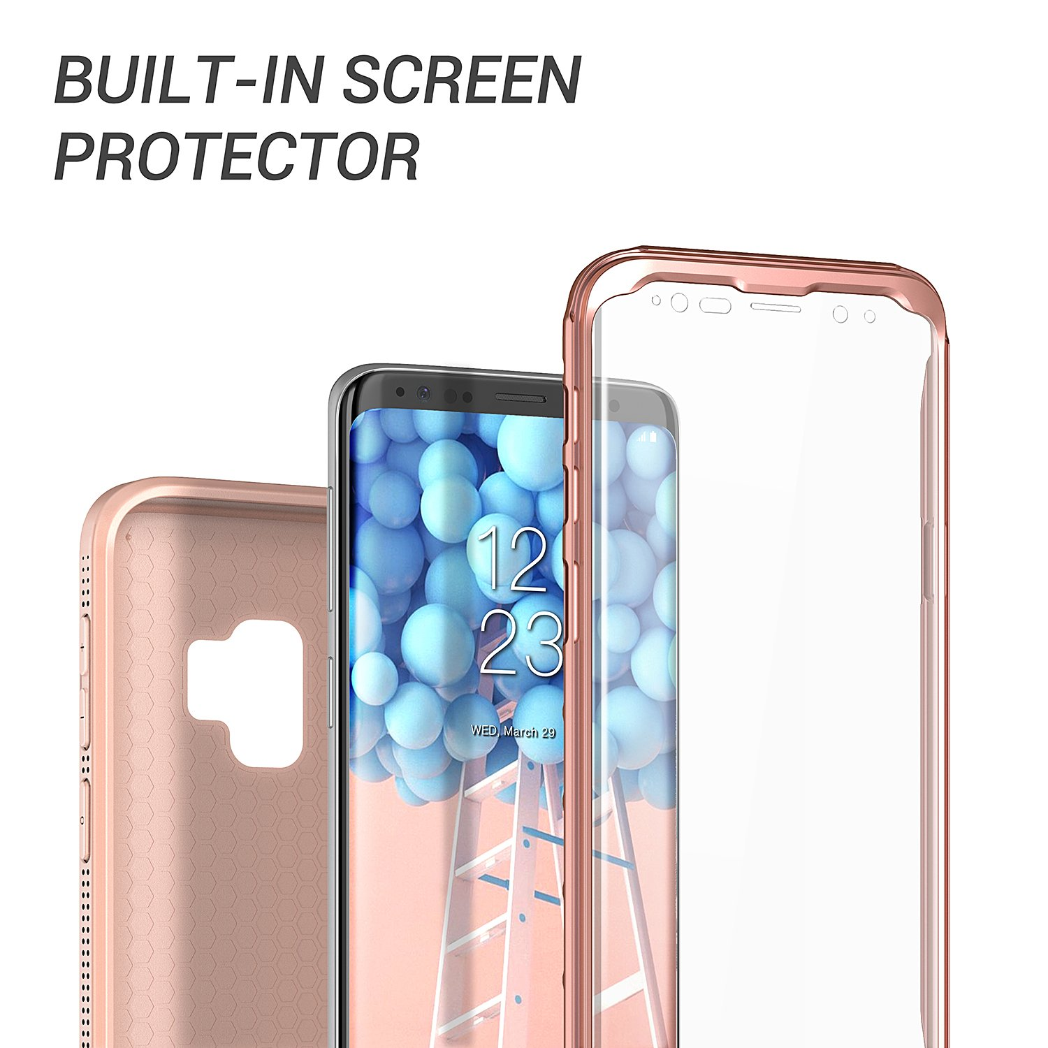 Galaxy S9 Case, YOUMAKER Rose Gold with Built-in Screen Protector Heavy Duty Protection Shockproof Slim Fit Full Body Case Cover for Samsung Galaxy S9 5.8 inch (2018) - Rose Gold/Pink by YOUMAKER (Image #4)