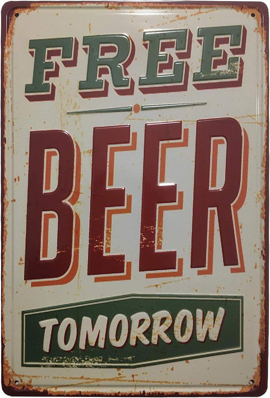 Chapa Vintage Cerveza [con Relieve y Autocolgable]. Placa Decorativa de Pared metálica Retro de 20x30 cm. (Free Beer)