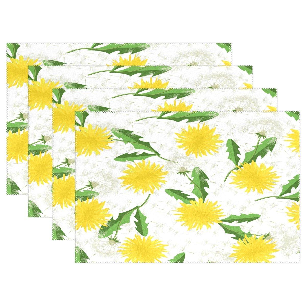 Use7 Tischset mit Pusteblumen-Motiv, 30,5 x 45,7 cm, Polyester, für Küche und Esszimmer, Gelb, Polyester, Multi, Package Quantity: 6