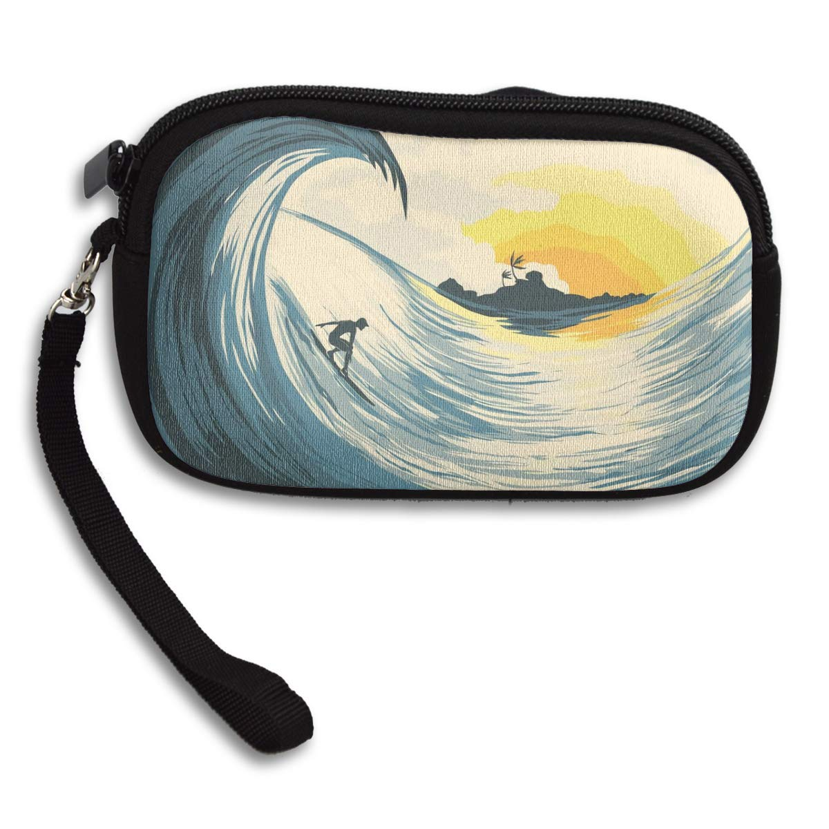 Coin Purse Island Wave And Surfer At Sunset Coin Pouch With Zipper,Make Up Bag,Wallet Bag Change Pouch Key Holder